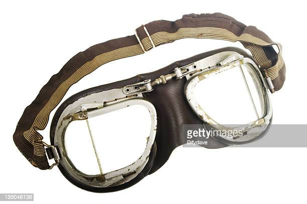 vintage pilot goggles with elastic strap - flying goggles stock pictures, royalty-free photos & images