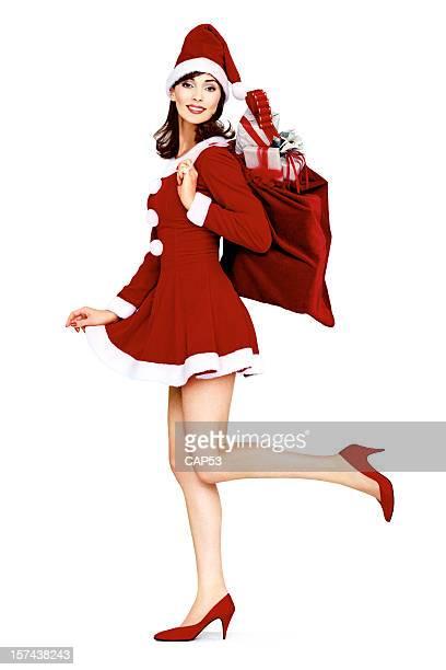 ビンテージのピンナップスタイルをサンタクロースクリスマスバッグを
