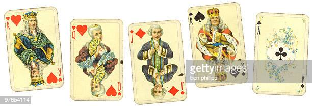vintage playing cards - playing cards stock photos and pictures