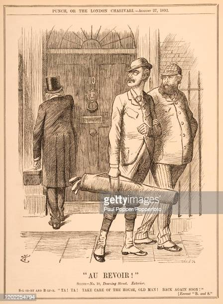A vintage political illustration featuring British politicians Arthur Balfour and Robert GascoyneCecil 3rd Marquis of Salisbury leaving 10 Downing...