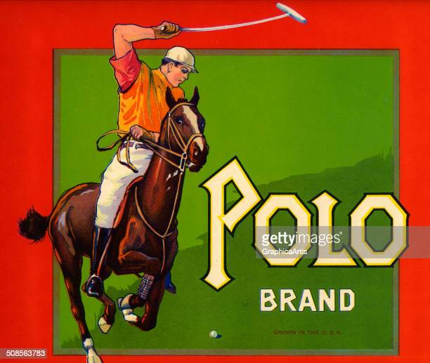 Vintage 'Polo Brand' fruit crate label with a polo player on horseback color lithograph c 1920