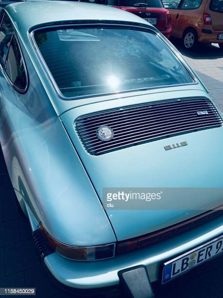 vintage porsche 911s, rear view - porsche stock pictures, royalty-free photos & images