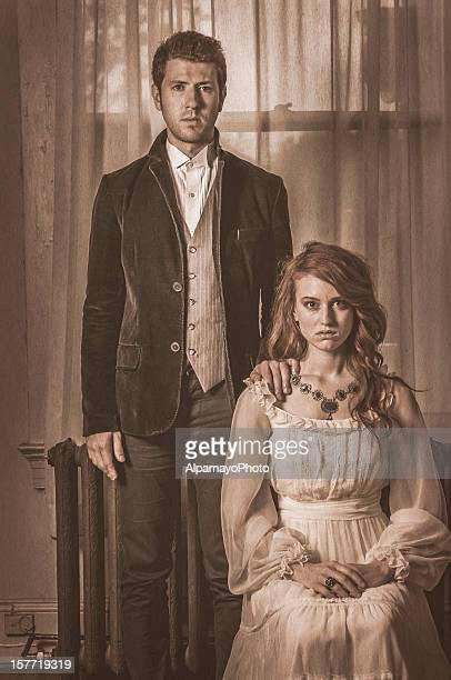 vintage portrait of a young couple - i - 18th century stock pictures, royalty-free photos & images