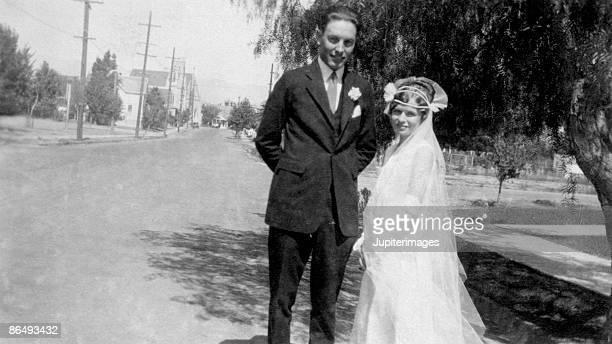 Vintage portrait of bride and groom