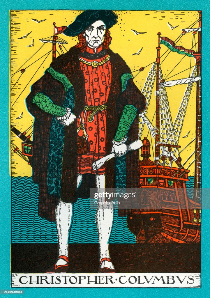 Vintage portrait of Christopher Columbus and the Santa Maria, lithograph, 1930.