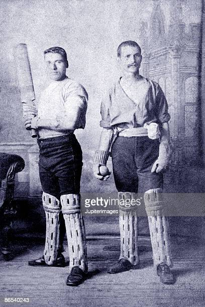 vintage portrait of cricket players - century cricket stock pictures, royalty-free photos & images