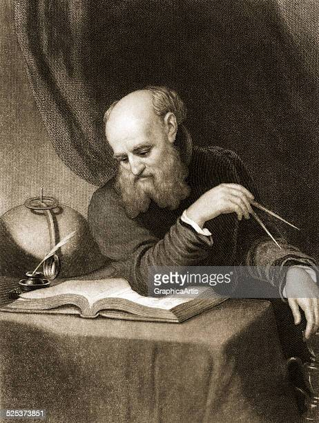Vintage portrait of Galileo Galilei in his study with a compass and manuscript with diagrams engraving circa 1880