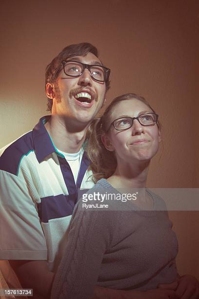 vintage portrait photographs - thick rimmed spectacles stock photos and pictures