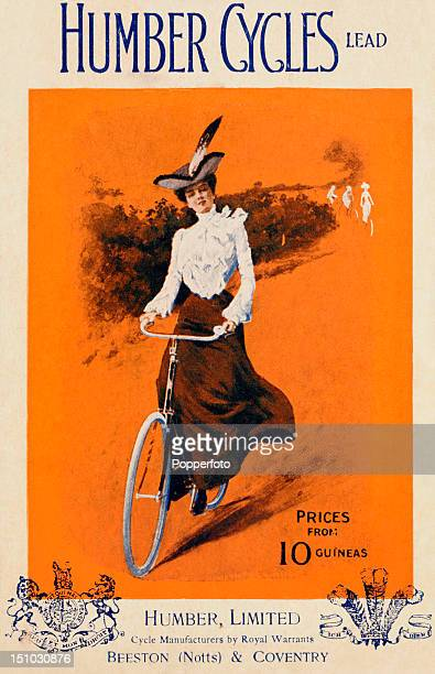 A vintage postcard advertising Humber Cycles featuring an illustration of a young woman riding a bicycle circa 1910