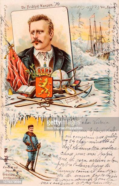 A vintage postcard featuring a colour illustration of Dr Fridtjof Nansen the Norwegian Nobel Peace Prize laureate and explorer who led the team that...