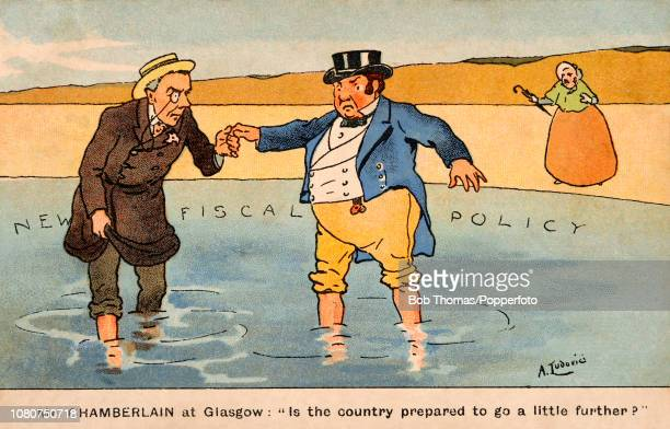Vintage postcard featuring a colour illustration of John Bull, the national personification of the United Kingdom, in conversation with Joseph...