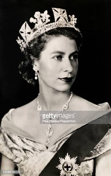 Vintage postcard featuring a coronation portrait of Queen Elizabeth II, circa 1953.