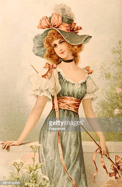 A vintage postcard featuring a fashionable young lady with a decorative hat leaning against a wall in a garden published in Leipzig circa 1890