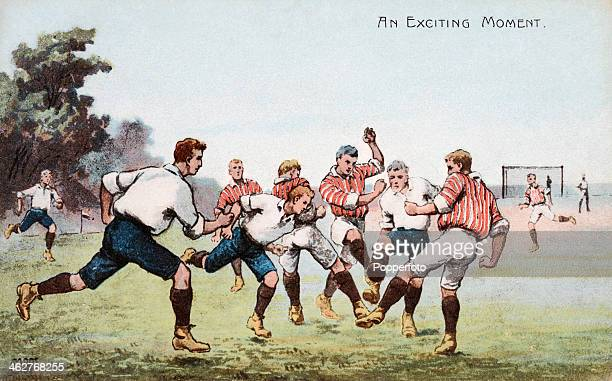 A vintage postcard featuring a football illustration of an exciting moment in a match postmarked 19th April 1908