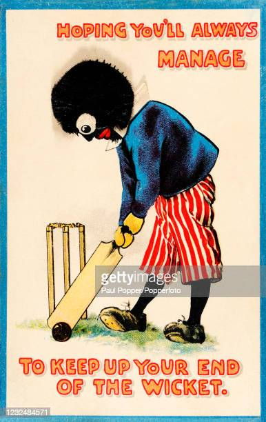 Vintage postcard featuring a golliwog-like racist caricature of a black person holding a cricket bat, published in London, circa 1910. The text...