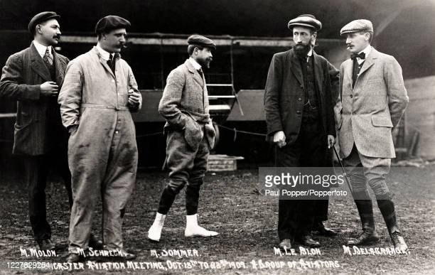 Vintage postcard featuring a group of international aviation pioneers at the Doncaster Aviation Meet, 15th October 1909. Left to right: Leon Molon,...