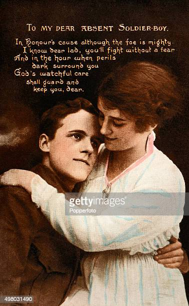 A vintage postcard featuring a soldier in uniform with his sweetheart and her poem To My Dear Absent Soldier Boy during World War One circa 1915