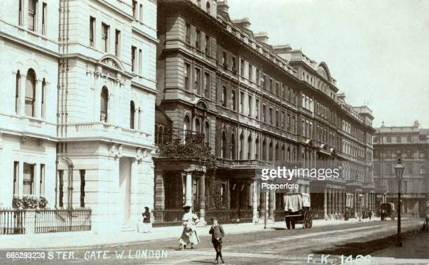Vintage postcard featuring a street scene at Lancaster Gate in West London, circa 1917. Before moving to offices at the new Wembley Stadium, the...
