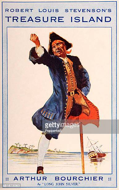 A vintage postcard featuring a theatre advertisement for Arthur Bourchier as Long John Silver in a play adapated from Robert Louis Stevenson's...