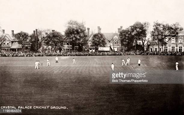 Vintage postcard featuring action on the Crystal Palace Cricket Ground in London, circa 1910.