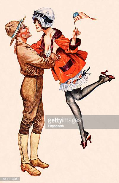 A vintage postcard featuring an American soldier on leave lifting a scantilyclad young woman waving an American flag during World War One published...