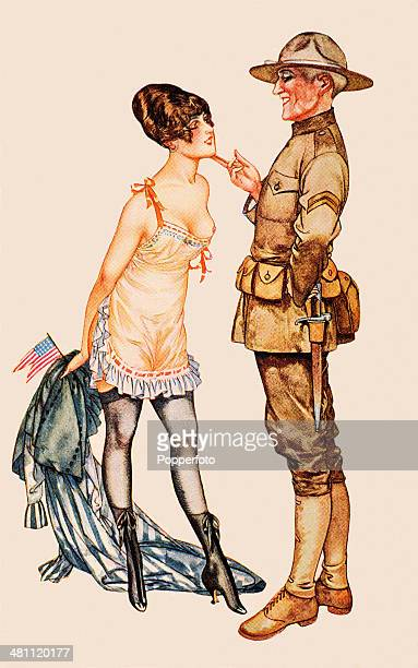 A vintage postcard featuring an American soldier on leave with a scantilyclad young woman during World War One published in Paris circa 1918