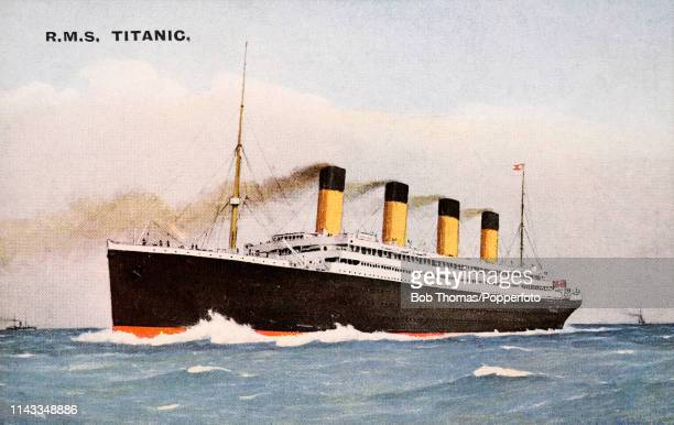 Vintage postcard featuring an illustration of the White Star line RMS Titanic on her maiden and last voyage circa April 1912 The ship sank following...