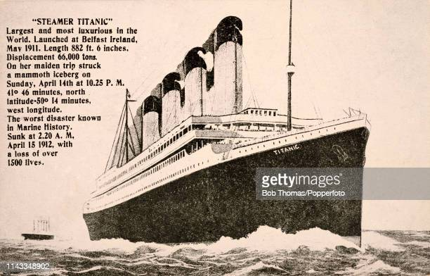 A vintage postcard featuring an illustration of the White Star line RMS Titanic on her maiden and last voyage circa April 1912 The ship sank...