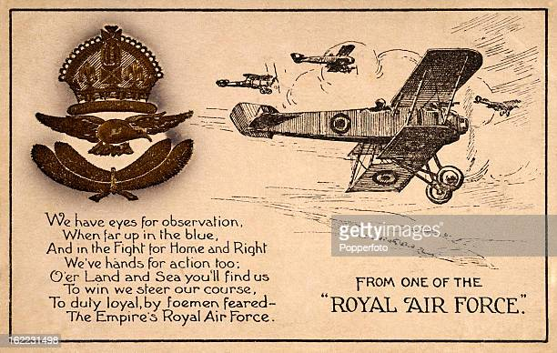 A vintage postcard featuring an illustration the insignia and poem describing the duties of the Royal Air Force formerly known as the Royal Flying...