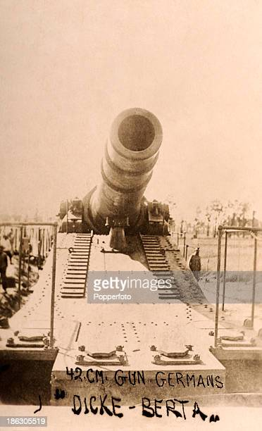 A vintage postcard featuring Big Bertha a 42cm superheavy howitzer developed by the German armaments manufacturers Krupps at the beginning of World...