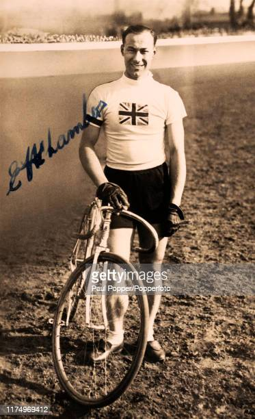 A vintage postcard featuring Ernest Chambers who won silver medals for Great Britain in the 2000 metres tandem track cycling event during the Summer...