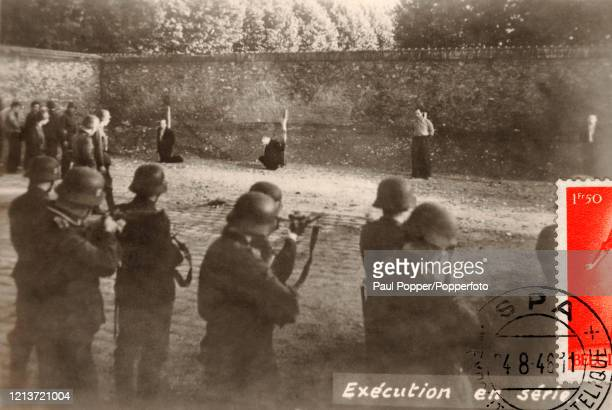 Vintage postcard featuring executions by German firing squad in Belgium during World War Two circa 1940