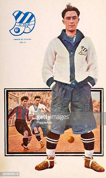 A vintage postcard featuring footballer Vidal of Club Deportivo Europa in Barcelona winners of the Campeonato de Cataluna in the 19221923 season