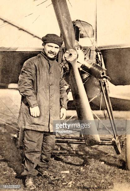 Vintage postcard featuring French aviator Marius Lacrouze standing with his Deperdussin monoplane near Reims circa 1910