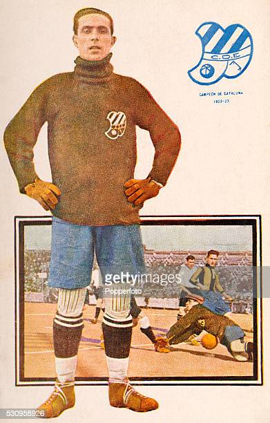 A vintage postcard featuring goalkeeper Bordoy of Club Deportivo Europa in Barcelona winners of the Campeonato de Cataluna in the 19221923 season