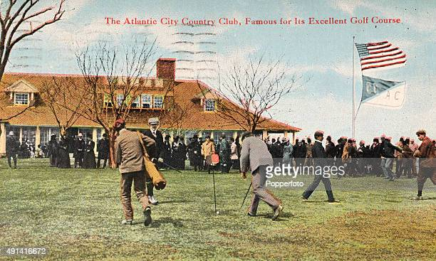 Vintage postcard featuring Harry Vardon, six time British Open champion, playing a better-ball match against two transplanted Brits, Finlay Douglas...