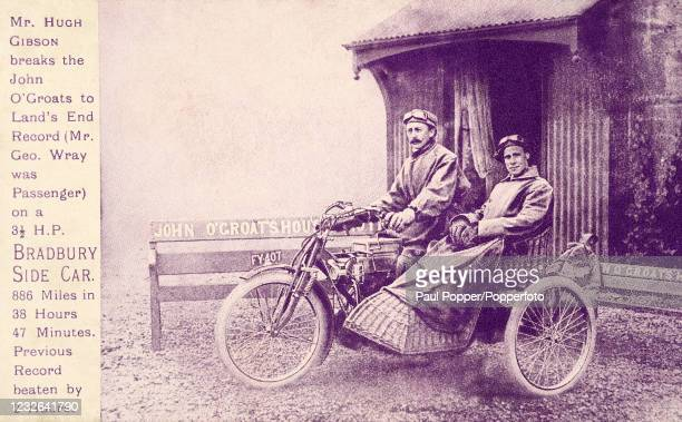 Vintage postcard featuring Hugh Gibson with his passenger George Wray after beating by two hours the John O'Groats to Land's End record on a 3-1/2...