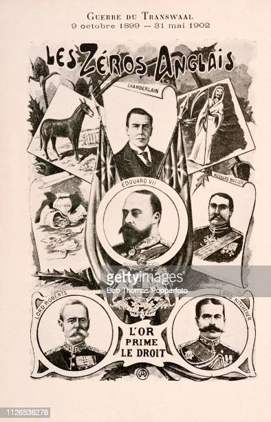 A vintage postcard featuring important contributors to the Second Boer War including horses death money and gold King Edward VII Lord Herbert...