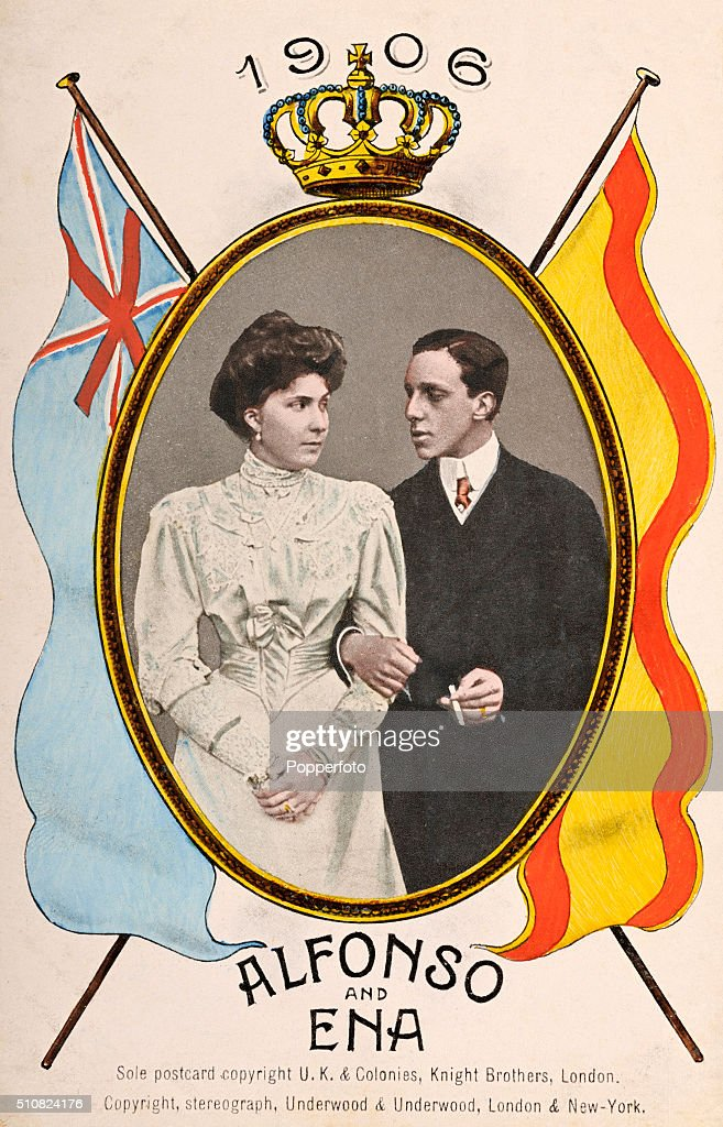 A vintage postcard featuring King Alfonso XIII of Spain with his wife, Victoria Eugenie of Battenberg or Ena, on the occasion of their marriage on 31st May 1906,