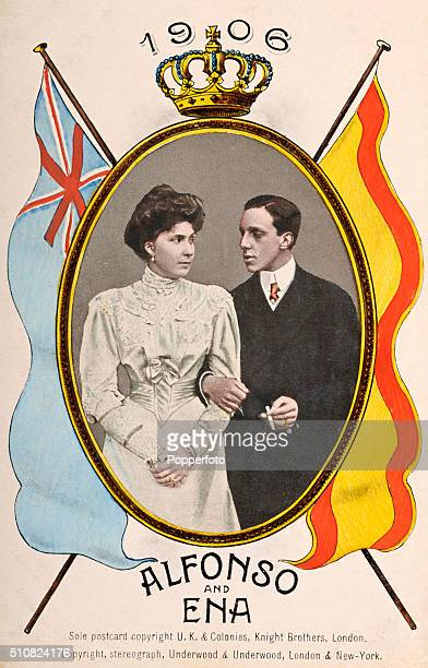 A vintage postcard featuring King Alfonso XIII of Spain with his wife Victoria Eugenie of Battenberg or Ena on the occasion of their marriage on 31st...