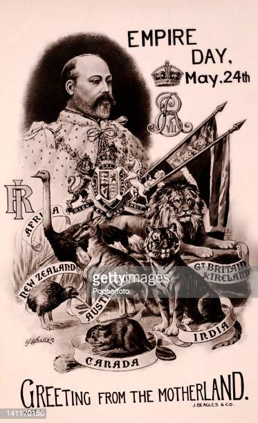 A vintage postcard featuring King Edward VII to celebrate Empire Day 24th May circa 1907