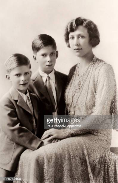 Vintage postcard featuring Mary, The Princess Royal and Countess of Harewood, with her two sons, Gerald Lascelles and George Henry Hubert, Viscount...