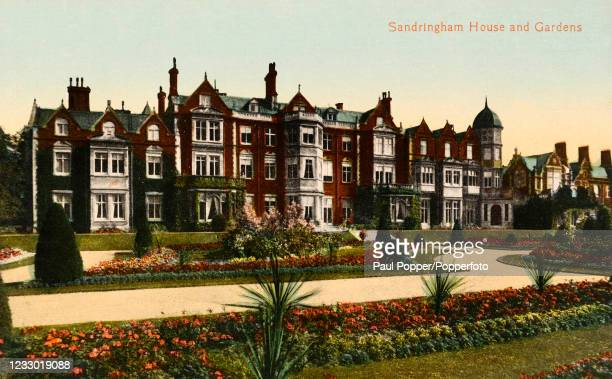 Vintage postcard featuring Sandringham House in Norfolk, a royal residence, with its Gardens, published in London, circa 1910.