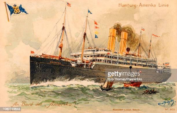 A vintage postcard featuring the Amerika of the HamburgAmerika Line circa 1905