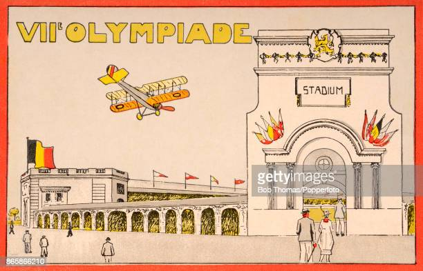 A vintage postcard featuring the Belgian flag a biplane and the Olympisch Stadion the venue for the Seventh Olympiad in Antwerp Belgium from August...