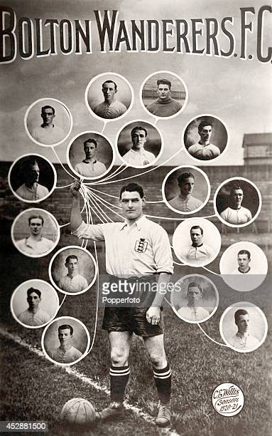 A vintage postcard featuring the Bolton Wanderers Football team each posed in a balloon held by team captain Joe Smith circa 1920