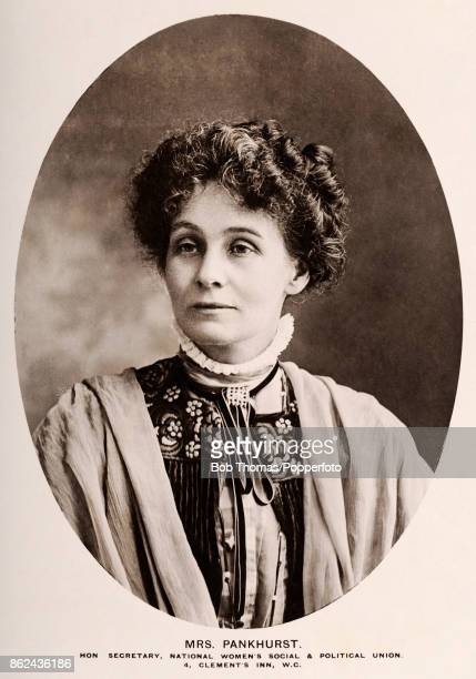 A vintage postcard featuring the British political activist and leader of the British suffragette movement Emmeline Pankhurst circa 1915