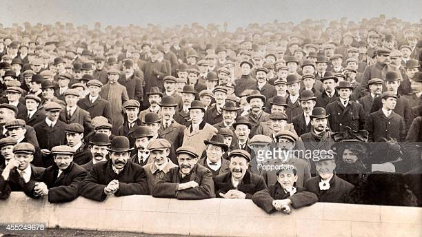 A vintage postcard featuring the crowd attending the FA Cup Semifinal between Southampton and Wolverhampton Wanderers at Stamford Bridge in London on...