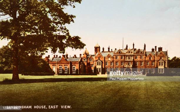 Vintage postcard featuring the East View of Sandringham House in Norfolk, a royal residence, published in London, circa 1910.