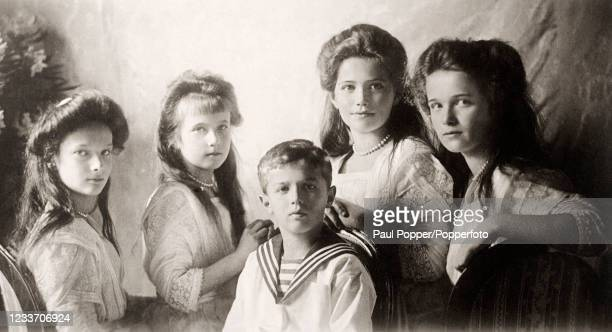 Vintage postcard featuring the five children of the Tsar and Tsarina of Russia, Nicholas and Alexandra , left to right, Grand Duchesses Olga,...